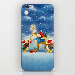 Penguin and Reindeer Christmas iPhone Skin