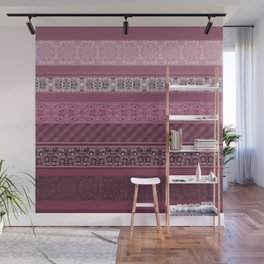 Pink raspberry patchwork 15 Wall Mural