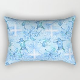 Colibri Flor Damask Rectangular Pillow