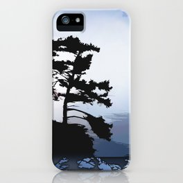 TWO WINDSWEPT DOUGLAS FIR ON THE SHORELINE iPhone Case