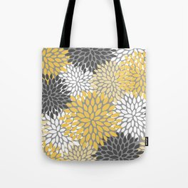 Modern Elegant Chic Floral Pattern, Soft Yellow, Gray, White Tote Bag