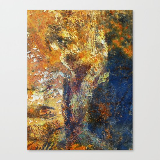 Yellow and Blue Wall Canvas Print