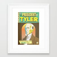 tyler spangler Framed Art Prints featuring John Tyler by @DrunkSatanRobot