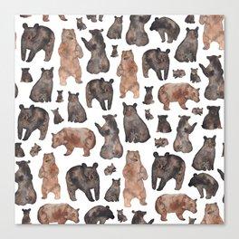 Woodland Bear Pattern Canvas Print