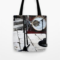 bianca green Tote Bags featuring Notte Bianca by Sara Sue Ess