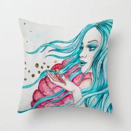 Watercolor mermaid fantasy art Throw Pillow