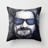 lebowski Throw Pillows featuring The Dude Lebowski by Black Neon