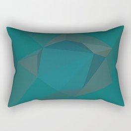Teal Blue Geometric - Abstract Art by Fluid Nature Rectangular Pillow