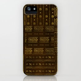 Gold African Tribal Pattern on rich brown texture iPhone Case