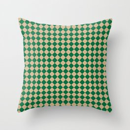 Tan Brown and Cadmium Green Diamonds Throw Pillow