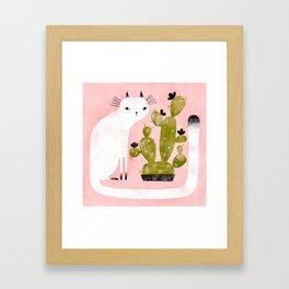 CAT & CACTUS Framed Art Print