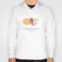 leslie knope Hoodies featuring Leslie Knope Loves Breakfast Food by She's That Wallflower