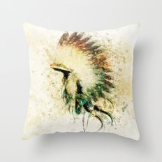 Native American Boho Headdress Sideview Throw Pillow