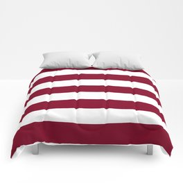 Burgundy - solid color - white stripes pattern Comforters