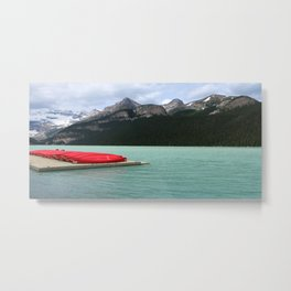 Lake Louise Red Canoes Metal Print