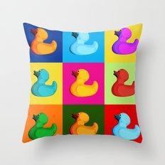 pop art duck Throw Pillow