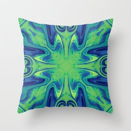 Groovy, Retro Blue and Green Swirls Design Throw Pillow