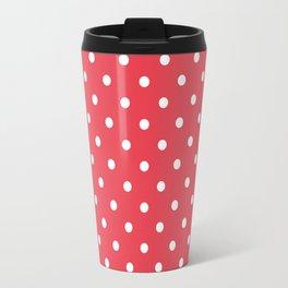 Coral Orangey-Red with White Polka Dots Travel Mug