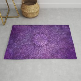 star mandala deep in the dark purple dream Rug