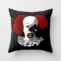 pennywise Throw Pillows featuring IT by PsychoBudgie