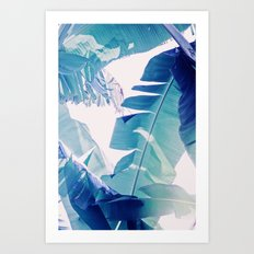 Banana Leaf Blue Art Print