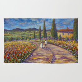 "Tuscany Painting on Canvas 37.8"" Landscape Painting Italy Country Art Impressionist Painting Tuscan Rug"
