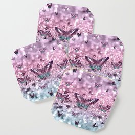 Pastel Unicorn Butterfly Glitter Dream #2 #shiny #decor #art #society6 Coaster