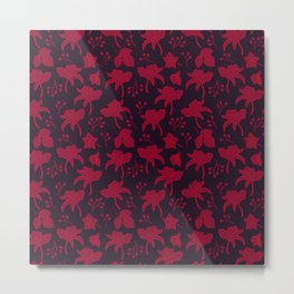 Red flowers scattered on a dark surface Metal Print