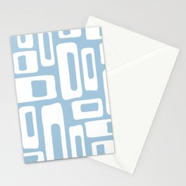 Retro Mid Century Modern Abstract Pattern 335 Pale Blue Stationery Cards