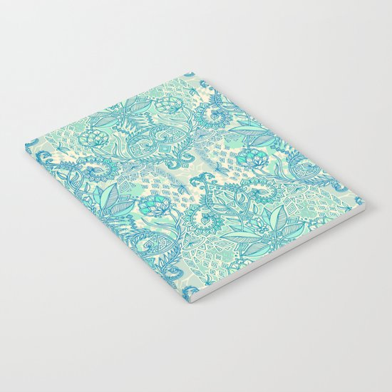 Botanical Geometry - nature pattern in blue, mint green & cream Notebook