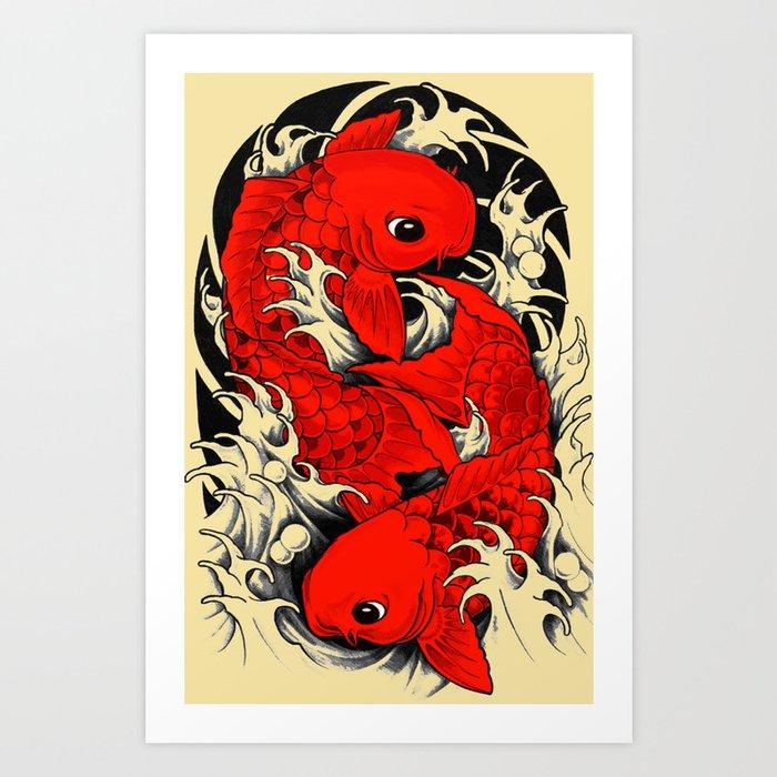 Koi carp japanese art print by jetti society6 for Japanese koi art prints