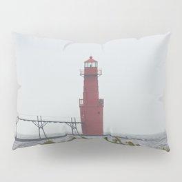 Light House along Lake Michigan Vertical Pillow Sham