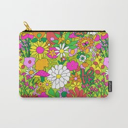 60's Groovy Garden in Lime Green Carry-All Pouch