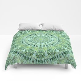 Mary Jane Mandala (green) Comforters