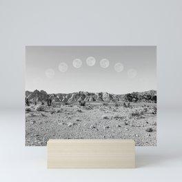 Desert Moon Ridge B&W // Summer Lunar Landscape Teal Sky Red Rock Canyon Rock Climbing Photography Mini Art Print