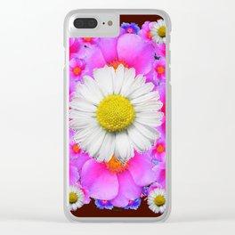 Colorful Fuchsia Rose Bouquet Garden Shasta Daisies Clear iPhone Case