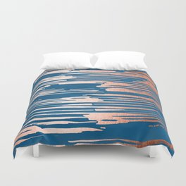 Tiger Paint Stripes - Sweet Peach Shimmer on Saltwater Taffy Teal Duvet Cover