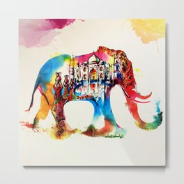 Colorful India Elephant Vintage Travel Love Watercolor Metal Print