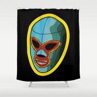 mask Shower Curtains featuring mask by mark ashkenazi