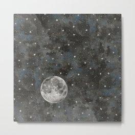 Watercolor Space Moon Robayre Metal Print
