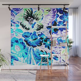 Vintage Floral Turquoise Green Lavender Wall Mural
