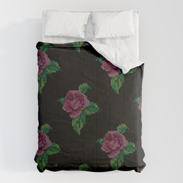 Rose cross stitch - black Comforters