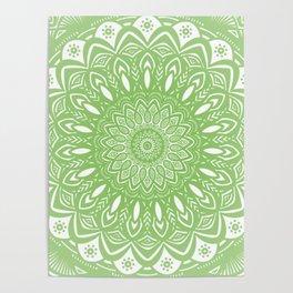 Light Lime Green Mandala Simple Minimal Minimalistic Poster