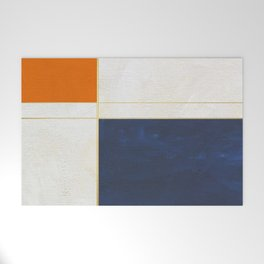Orange, Blue And White With Golden Lines Abstract Painting Welcome Mat