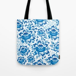 Vintage shabby Chic spring romantic pattern with sky blue flowers Tote Bag