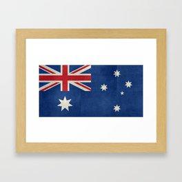 "Australian flag, retro ""folded"" textured version (authentic scale 1:2) Framed Art Print"