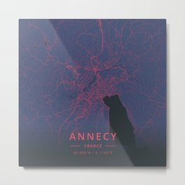 Annecy, France - Neon Metal Print