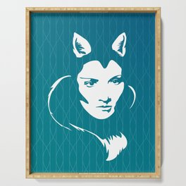 Faces - foxy lady on a teal wavey background Serving Tray