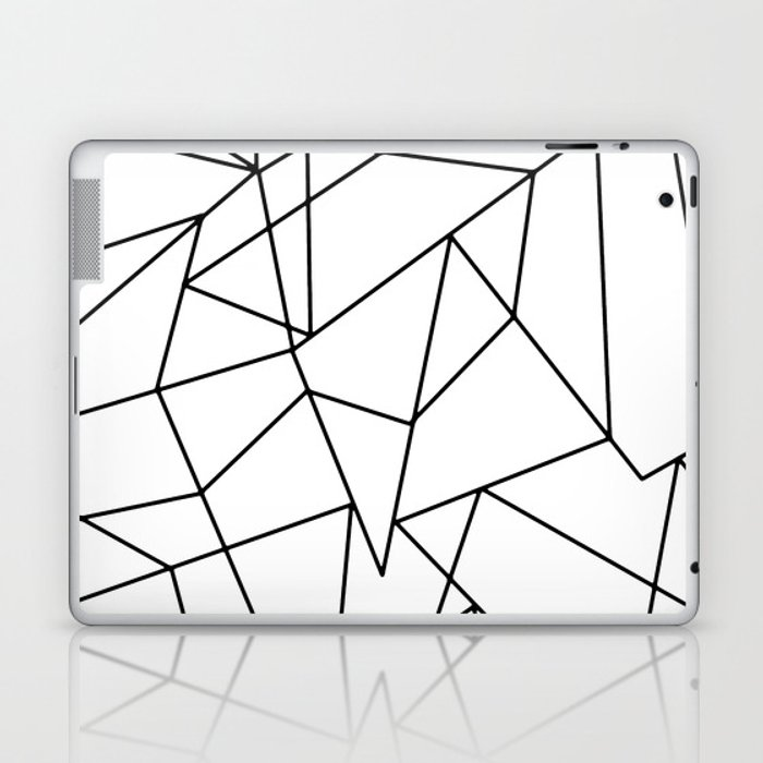 Simple Modern Black and White Geometric Pattern Laptop & iPad Skin