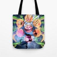 goku Tote Bags featuring DBZ - Goku by Mr. Stonebanks